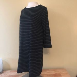 LOFT Black and gray long sleeve dress M